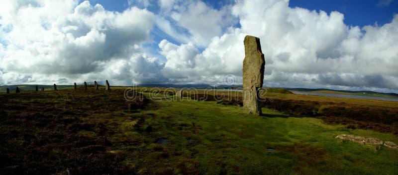 Panorama do círculo de pedra arcaico em ilhas de Orkney, Escócia fotografia de stock royalty free