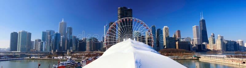 Panorama do cais da marinha de Chicago foto de stock royalty free