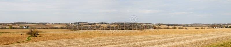 Panorama do campo de exploração agrícola da queda fotos de stock royalty free