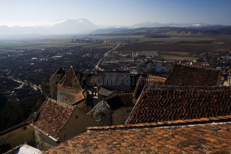 Panorama do castelo de Rasnov - Romania foto de stock royalty free