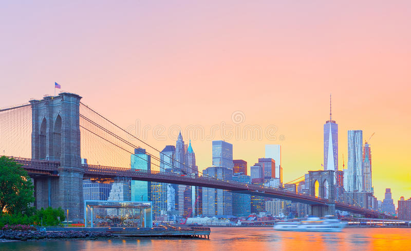Panorama do centro de New York City, Manhattan fotos de stock royalty free