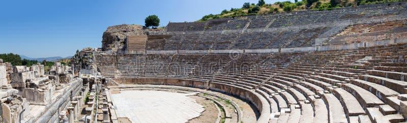 Panorama do grande teatro de Ephesus, Turquia imagens de stock royalty free