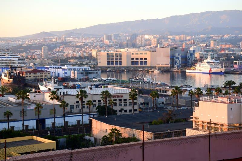 Panorama do harobor de Gran Canaria foto de stock royalty free