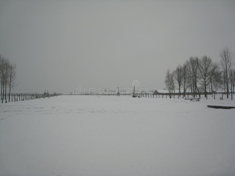 Panorama do inverno de Auschwitz imagens de stock