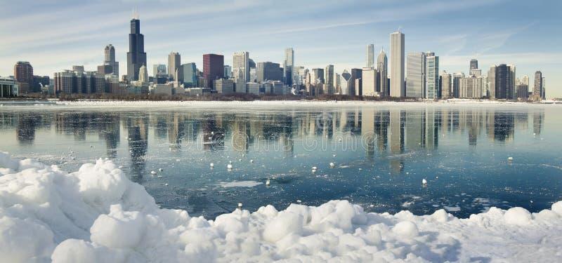 Panorama do inverno de Chicago. fotos de stock