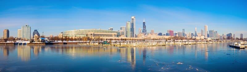 Panorama do inverno de Chicago foto de stock royalty free