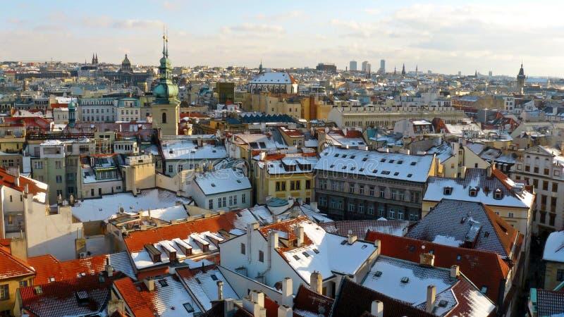 Panorama do inverno de Praga foto de stock royalty free