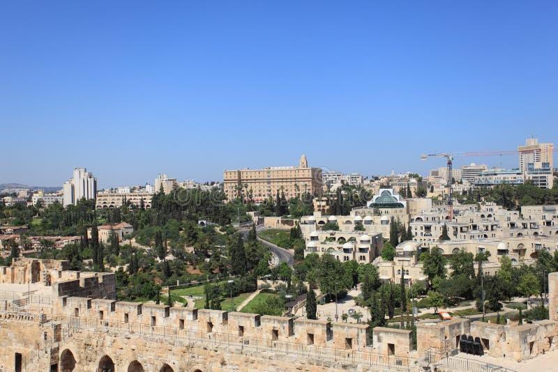 Panorama do Jerusalém com rei David Hotel imagens de stock royalty free
