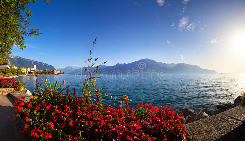 Panorama do lago geneva fotografia de stock royalty free