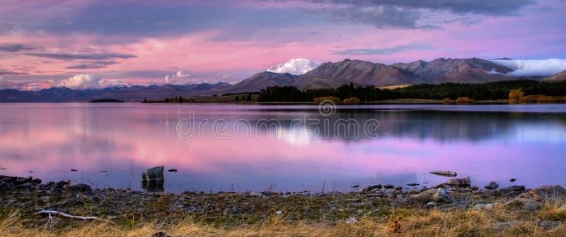Panorama do lago new Zealand foto de stock
