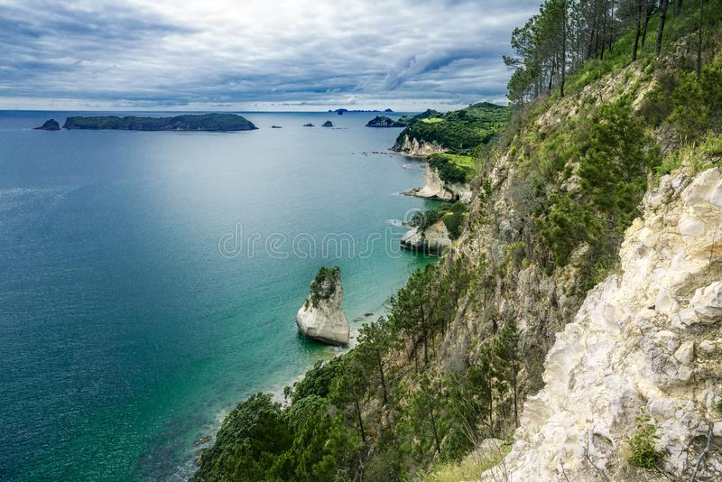 Panorama do litoral da angra da catedral, coromandel, zeala novo fotos de stock royalty free