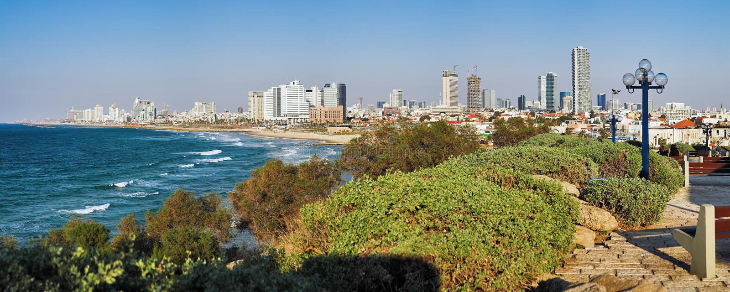 Panorama do litoral de Telavive foto de stock