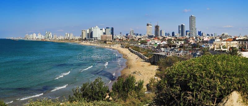 Panorama do litoral de Telavive imagens de stock