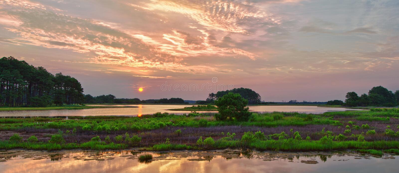 Panorama do nascer do sol de Chincoteague fotografia de stock royalty free