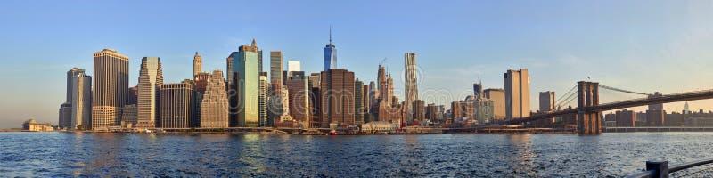 Panorama do nascer do sol de Manhattan fotos de stock royalty free
