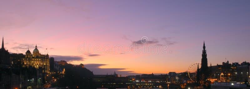 Panorama do Natal de Edimburgo fotografia de stock