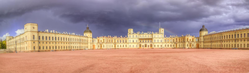 Panorama do palácio de Gatchina fotos de stock royalty free