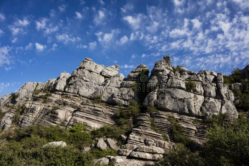 Panorama do parque natural do EL Torcal em Antequera, Malaga, Espanha fotografia de stock
