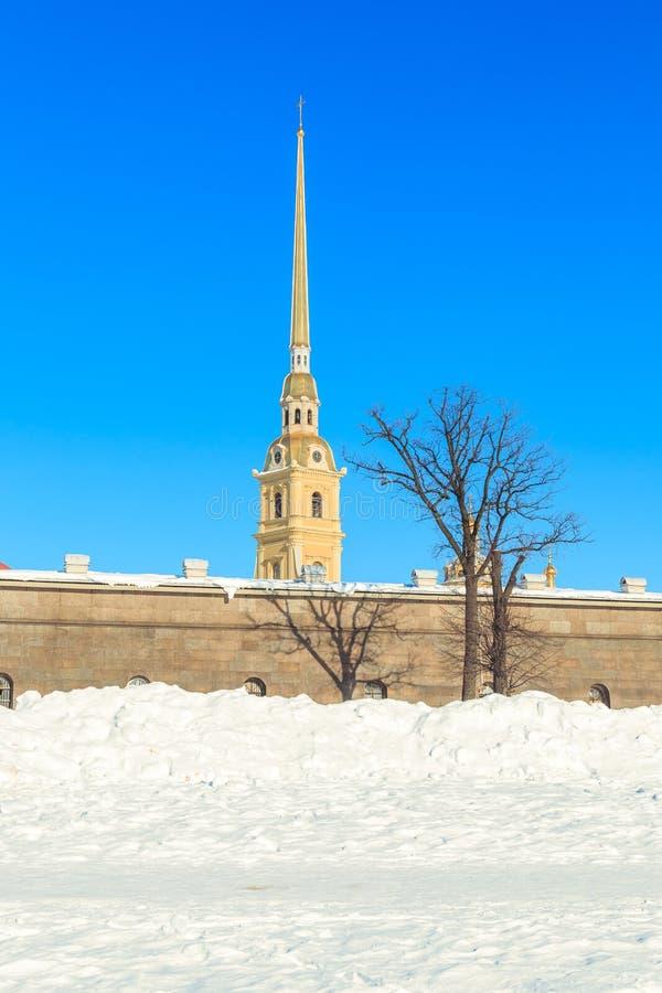Panorama do Peter e do Paul Fortress em St Petersburg foto de stock
