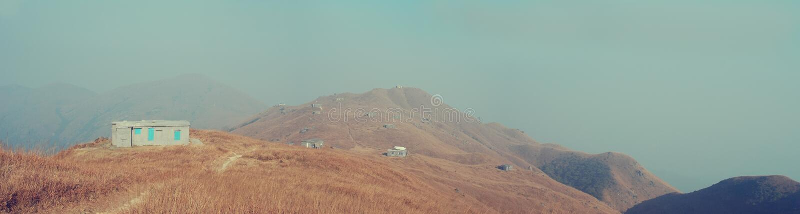 Panorama do pico do por do sol de Hong Kong fotos de stock