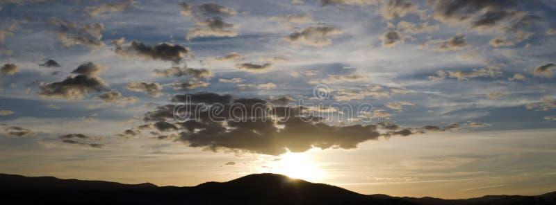 Panorama do por do sol fotos de stock royalty free