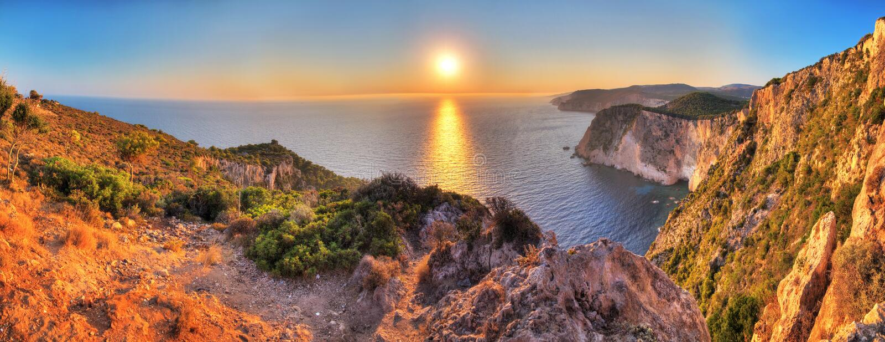 Panorama do por do sol de Keri do cabo fotografia de stock royalty free