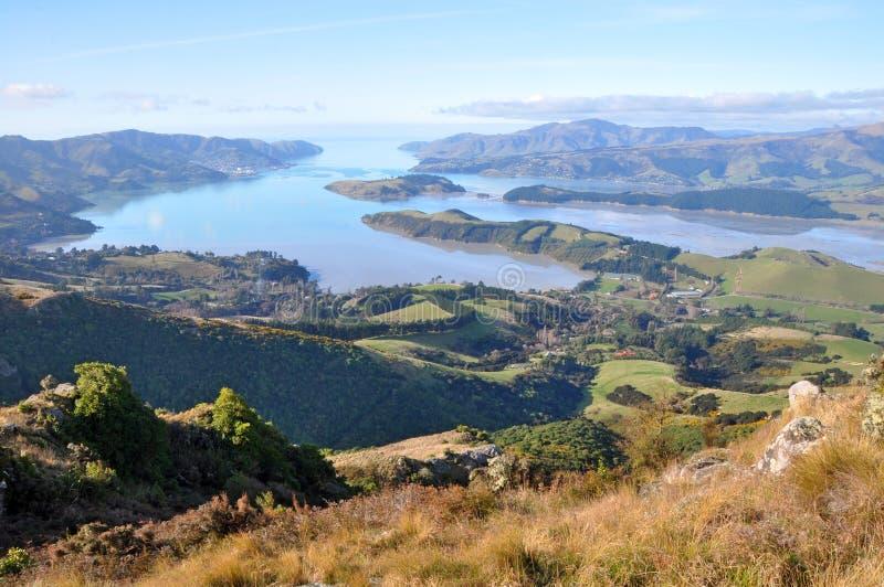 Panorama do porto de Christchurch, Nova Zelândia fotos de stock royalty free