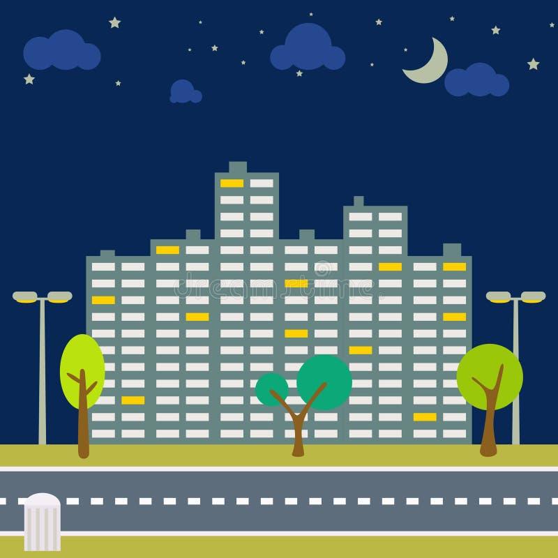 Panorama do scape da cidade da noite Vista exterior do centro horizontal ilustração stock