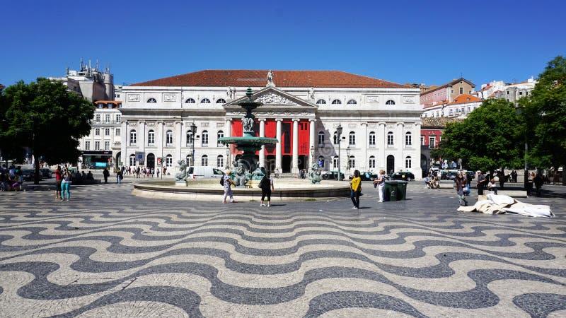 Panorama do teatro de Lisboa, Portugal imagem de stock