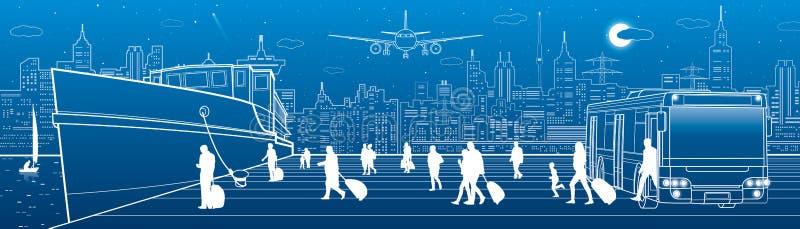 Panorama do transporte Os passageiros vão enviar do ônibus Passeio dos povos Transporte do curso Cena urbana Cidade da noite no f ilustração stock