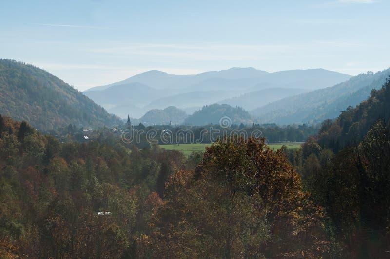 Panorama do vale de Kruth do alsatian foto de stock