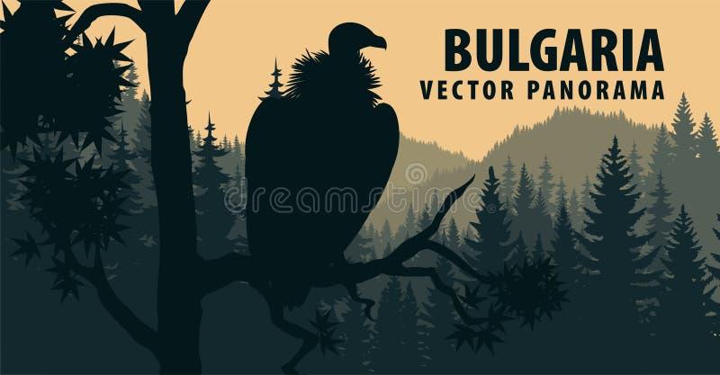 Panorama do vetor de Bulgária com abutre de Griffon ilustração do vetor