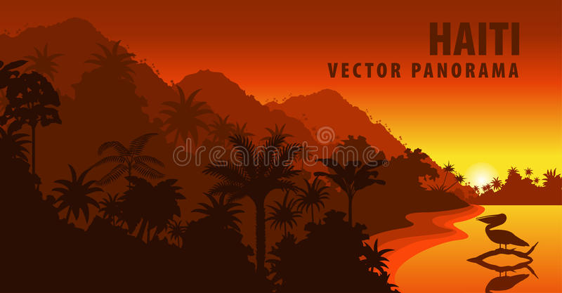 Panorama do vetor de Haiti com praia ilustração royalty free