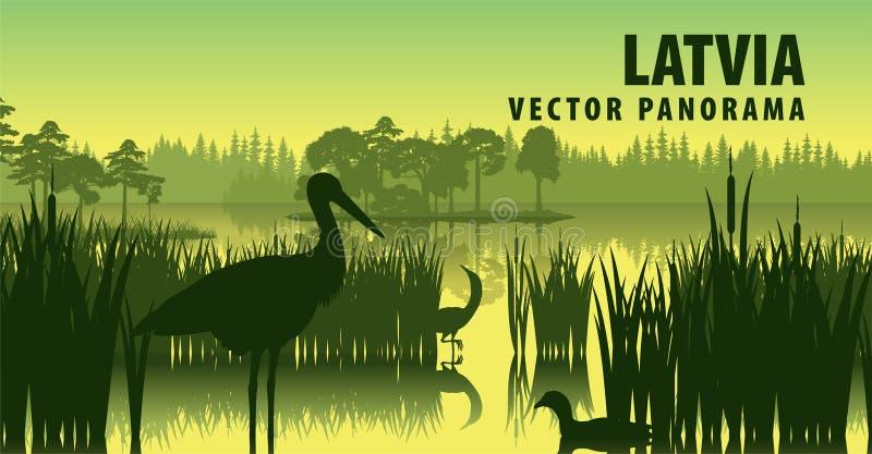 Panorama do vetor de Letónia com cegonha preta ilustração stock