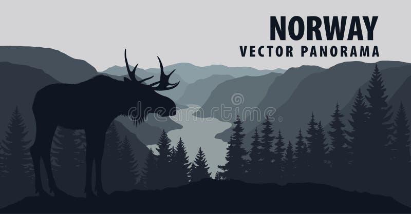 Panorama do vetor de Noruega com alces ilustração do vetor