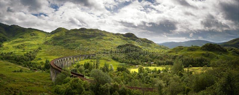 Panorama do viaduto de Glenfinnan foto de stock