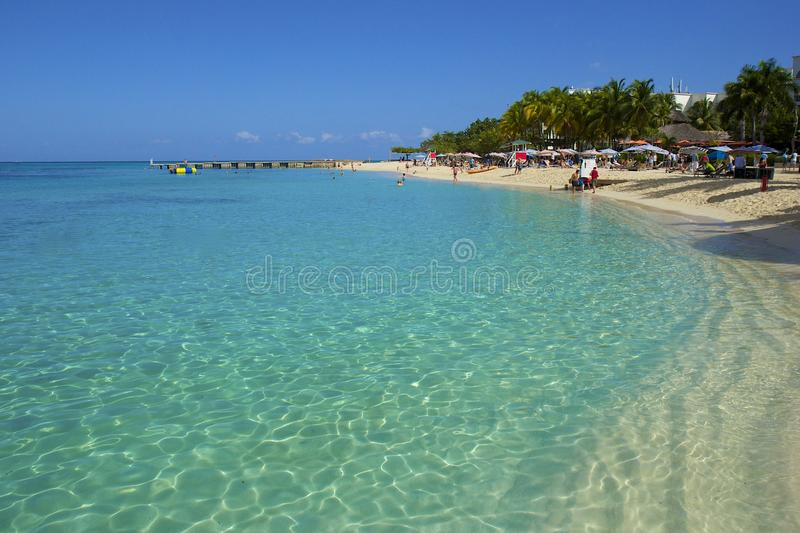 Panorama of Doctor's Cove beach in Jamaica stock images