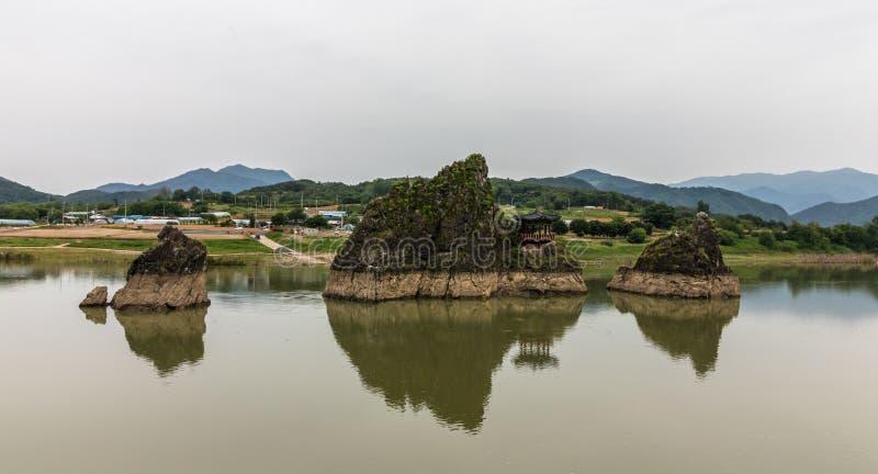Panorama of Dodamsambong Peaks. Three stone peaks rising out of the Namhangang River. Danyang, North Chungcheong, South Korea,. Eulwangni Beach in Incheon stock photos