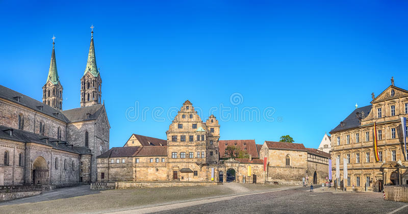 Panorama of Domplatz square in Bamberg, Germany stock image
