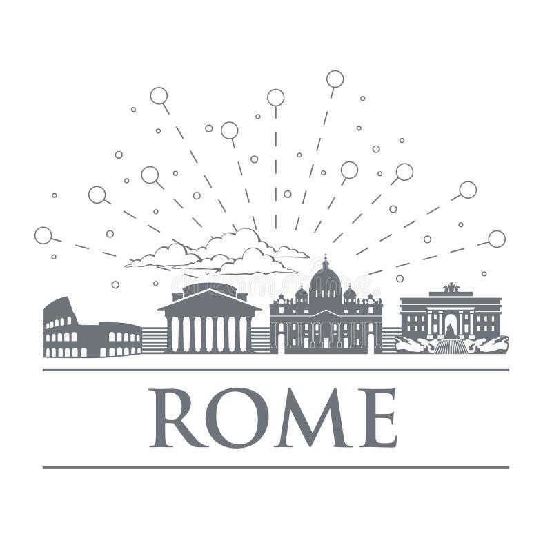 Panorama dos crachás, ícones, símbolos de Itália Os objetos são cor cinzenta nobre Cidade de Roma ilustração do vetor