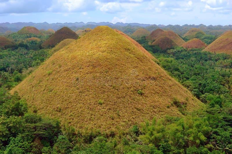 Panorama dos montes do chocolate de Bohol imagens de stock