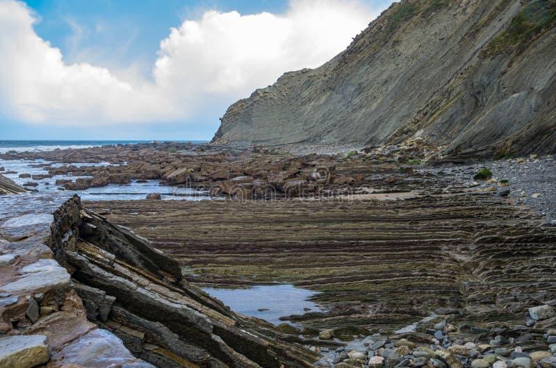 Panorama dos penhascos e do flysch de Zumaia, pa?s Basque foto de stock royalty free