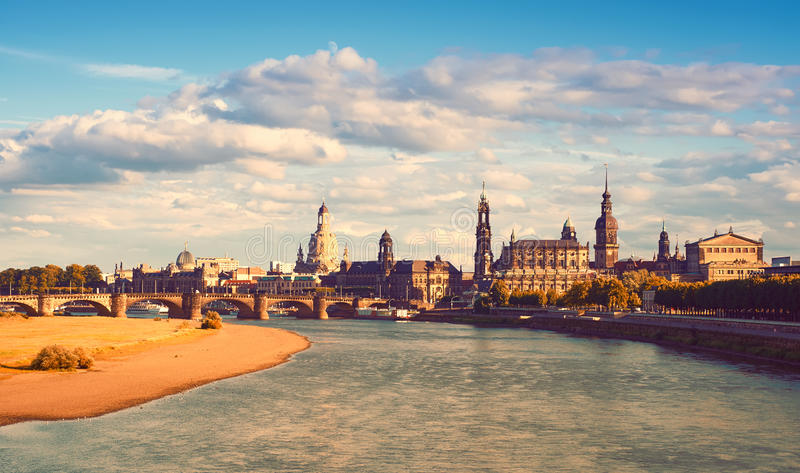 Panorama of Dresden Old Town in Fall royalty free stock photo