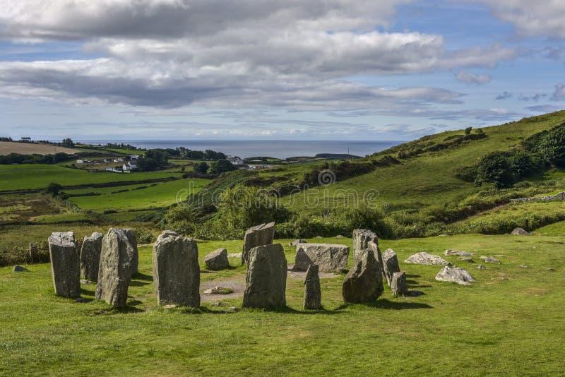Panorama Drombeg kamienia okrąg przed morzem, okręg administracyjny korek, Irlandia zdjęcia royalty free