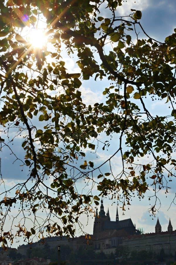 Panorama du château et du soleil de Prague photo stock