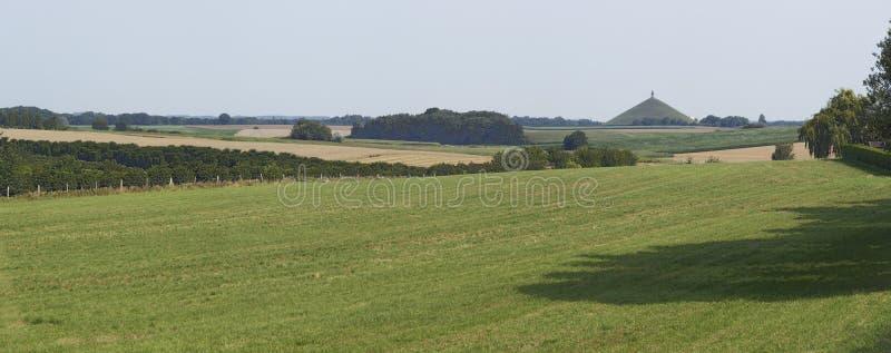 Panorama du champ de bataille de Waterloo vu de Genappe photo stock