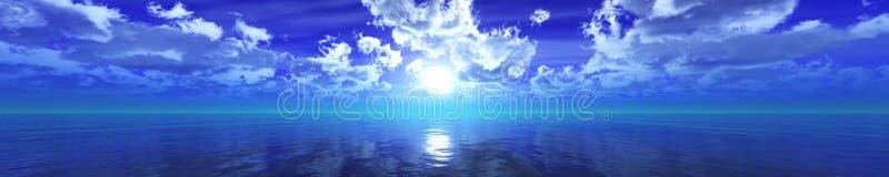 Panorama du coucher du soleil de mer photos libres de droits