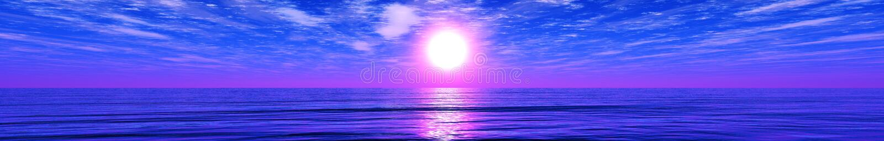 Panorama du coucher du soleil de mer image stock