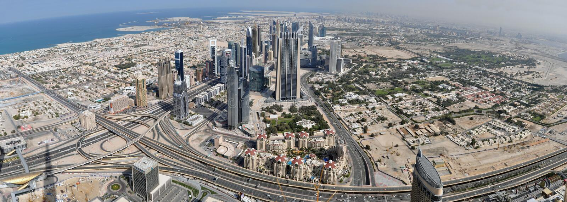 Panorama Dubaj obrazy royalty free