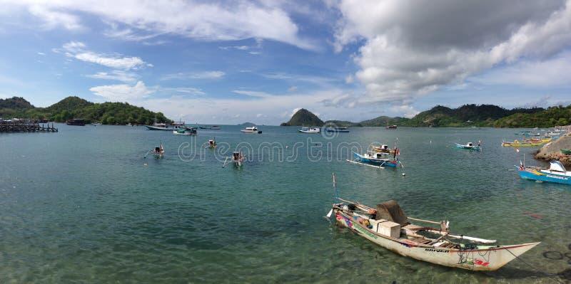 Panorama from dugout catamaran boats royalty free stock image